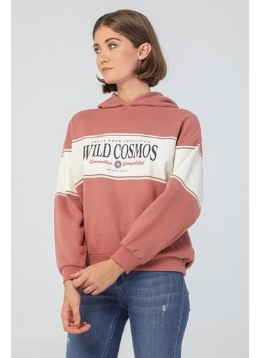 Modaset Bloklu Kapüşonlu Sweatshirt Gül Kurusu Bordo